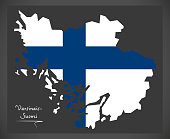 Varsinais-Suomi map of Finland with Finnish national flag illustration