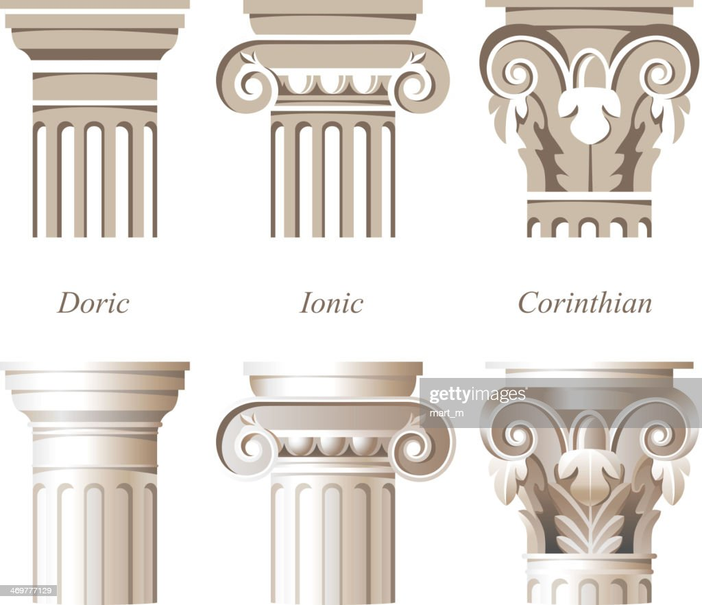 Varying styles of Roman columns in Italian architecture