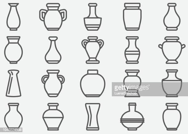 vase line icons - ceramics stock illustrations, clip art, cartoons, & icons