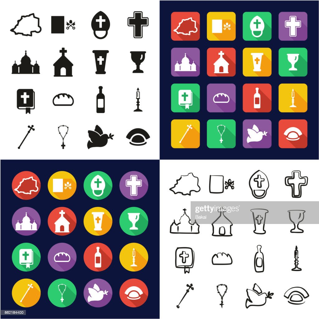 Vatican All in One Icons Black & White Color Flat Design Freehand Set