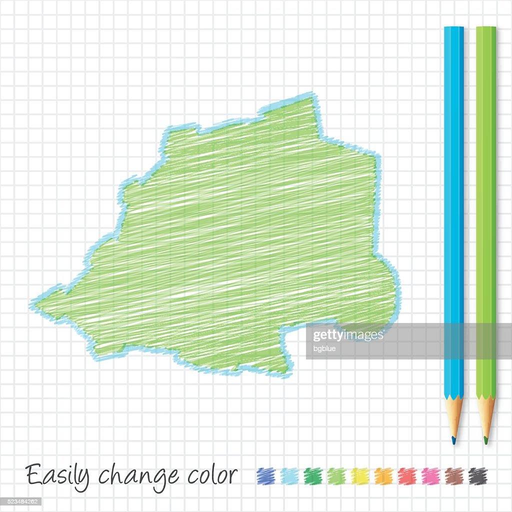 Vatican City Map Sketch Color Pencils Grid Paper stock