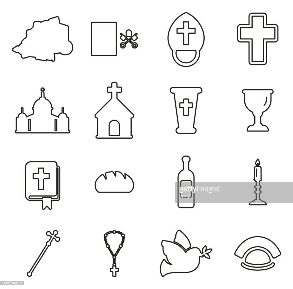 Vatican Icons Thin Line Vector Illustration Set