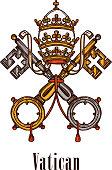 Vatican keys symbol coat of arms vector icon