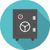 Vault circle icon with long shadow. Flat design style.