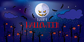 vecor horizontal halloween banner with Moon, trees and bats at night