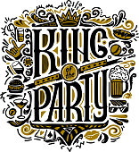 Vecror print for T-shirts. text king of the party and handwritten drawings. Lettering. Isolated on white background