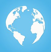 Vecrot globe earth icon silhouette on blue background flat style