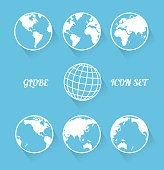 Vecrot globe icon set. Modern flat style