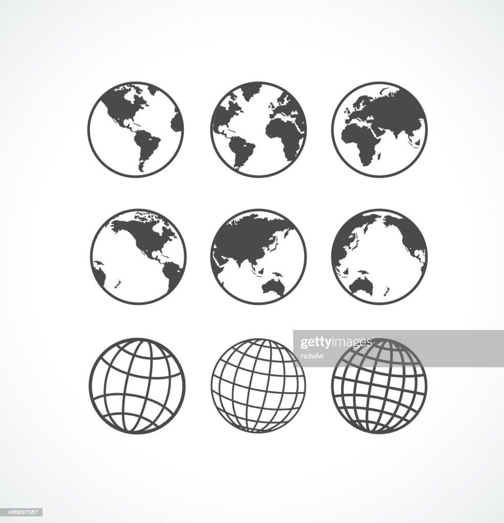 Vecrot globe icon set.