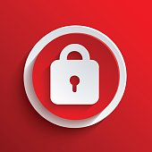Vect red icon with a lock in the middle