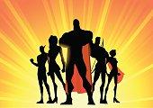 Vecto Superhero Team Up Silhouette