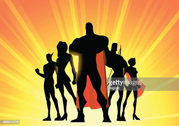 Vecto Superhero Team Up Silhouette