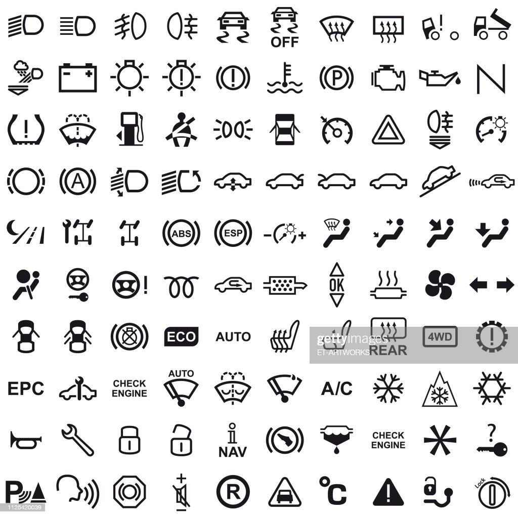 Vector 100 Car Dashboard Icons