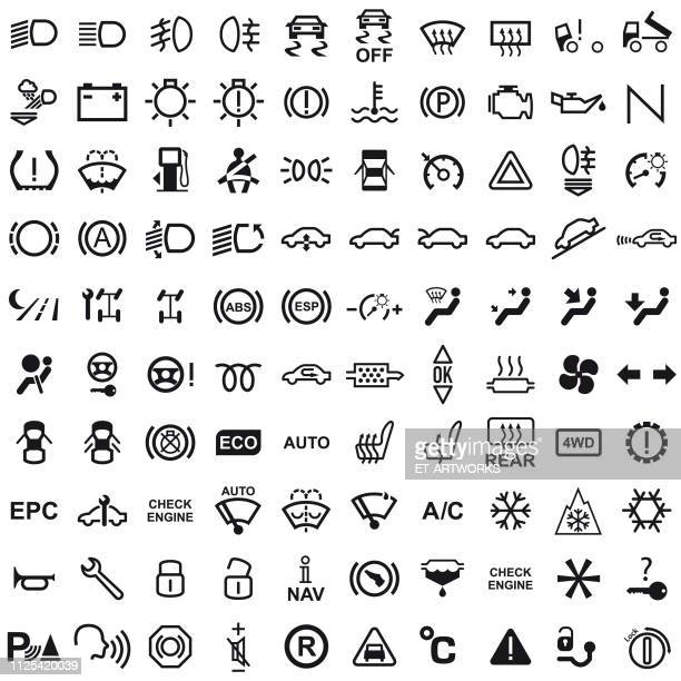 vector 100 car dashboard icons - danger stock illustrations