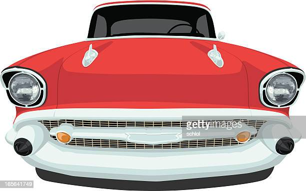 vector 1957 chevrolet bel air - front view - 1957 stock illustrations