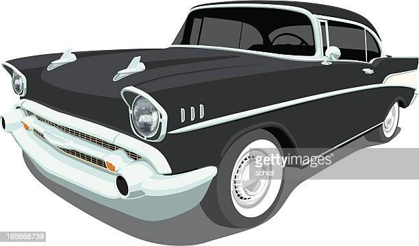 vector 1957 chevrolet bel air - hood ornament stock illustrations
