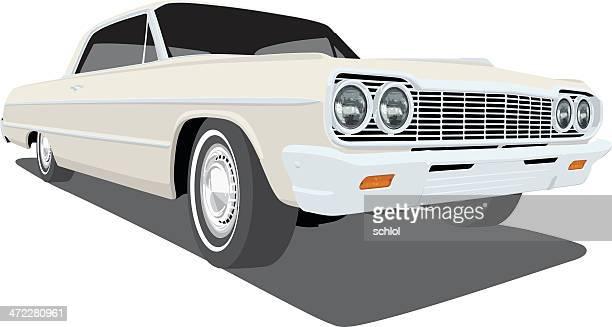 vector 1964 chevrolet impala - low rider stock illustrations