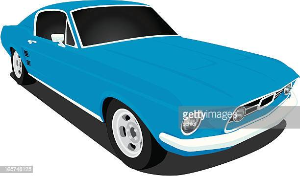 vector 1967 ford mustang - vehicle hood stock illustrations, clip art, cartoons, & icons
