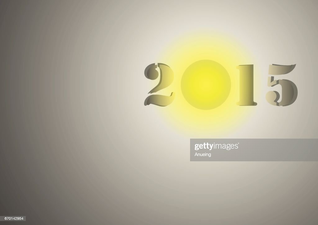 Vector : 2015 happy new year background with lightbulb.
