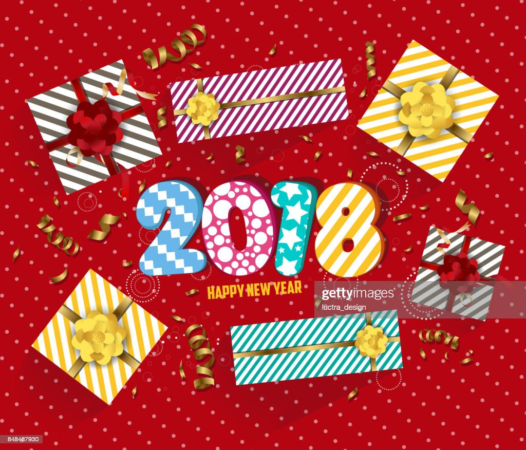 vector 2018 happy new year background with golden confetti and gift vector art