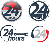 Vector 24 hours icons set.