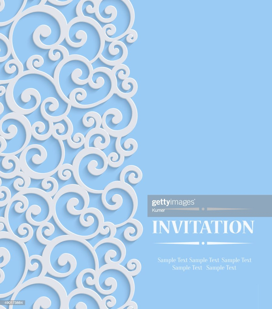 Vector 3d Blue Vintage Invitation Card with Floral Curled Pattern