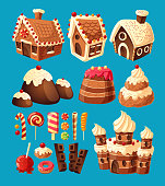 Vector 3D cartoon icons of sweets for game design