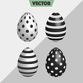 Vector 3D dotted, striped Easter eggs in Black & white