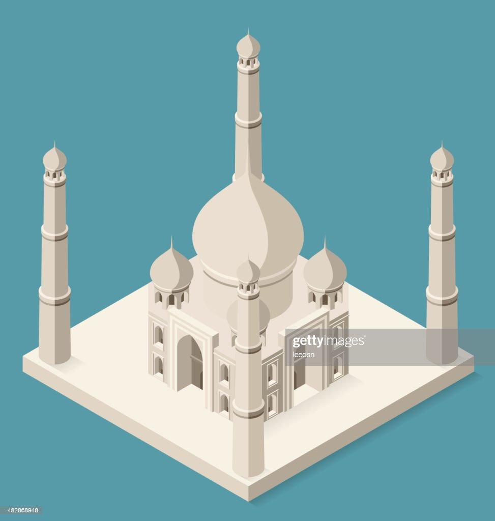Vector 3d Flat Isometric Taj Mahal