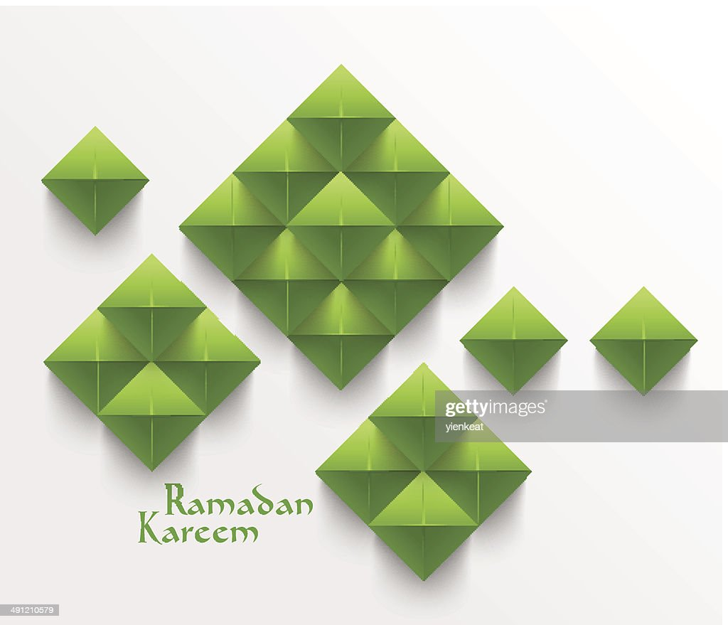 Vector 3D Folded Paper Ketupats (Muslim Rice Dumpling).