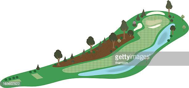 vector 3d golf hole 2 - eagle golf stock illustrations