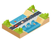 Vector 3D isometric cross section of a landscape with a flowing river and automobile bridge through it.