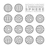 Vector 3d (three dimensional) monochrome sphere rotations and projections set