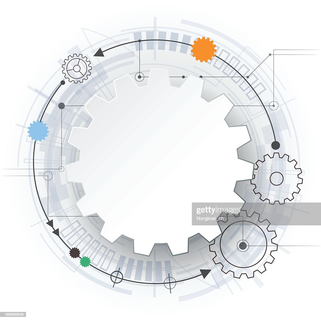 Vector 3d paper gear wheel on circuit board