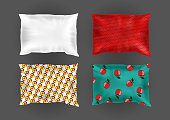 Vector 3d realistic bright pillows template, mock-up