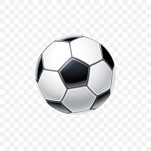 Vector 3d realistic football ball in black and white for soccer isolated on transparent background. Equipment and accessories for game. Sports and competition or entertainment theme