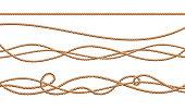 Vector 3d realistic jute, hemp, fiber ropes
