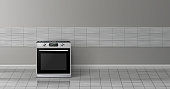 Vector 3d realistic mockup - stove in kitchen