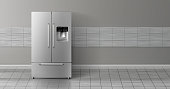 Vector 3d realistic mockup with two-chambered refrigerator