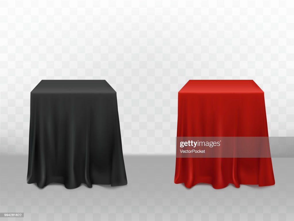 Vector 3d realistic red, black silk tablecloth