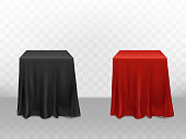 Vector 3d realistic red, black silk tablecloth