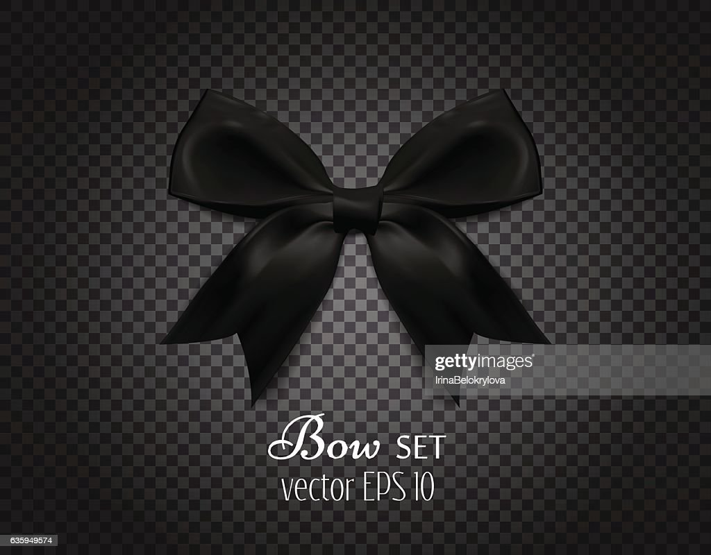 Vector 3d realistic ribbon black bow on dark transparent background