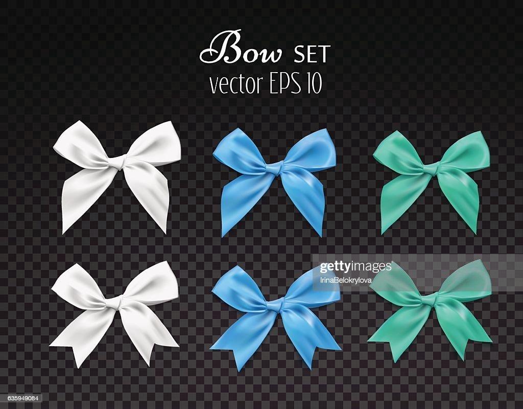 Vector 3d realistic ribbon colored bows set. dark transparent background