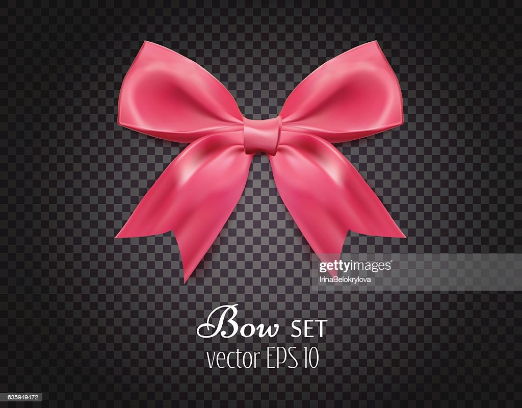 Vector 3d realistic ribbon pink bow on dark transparent background