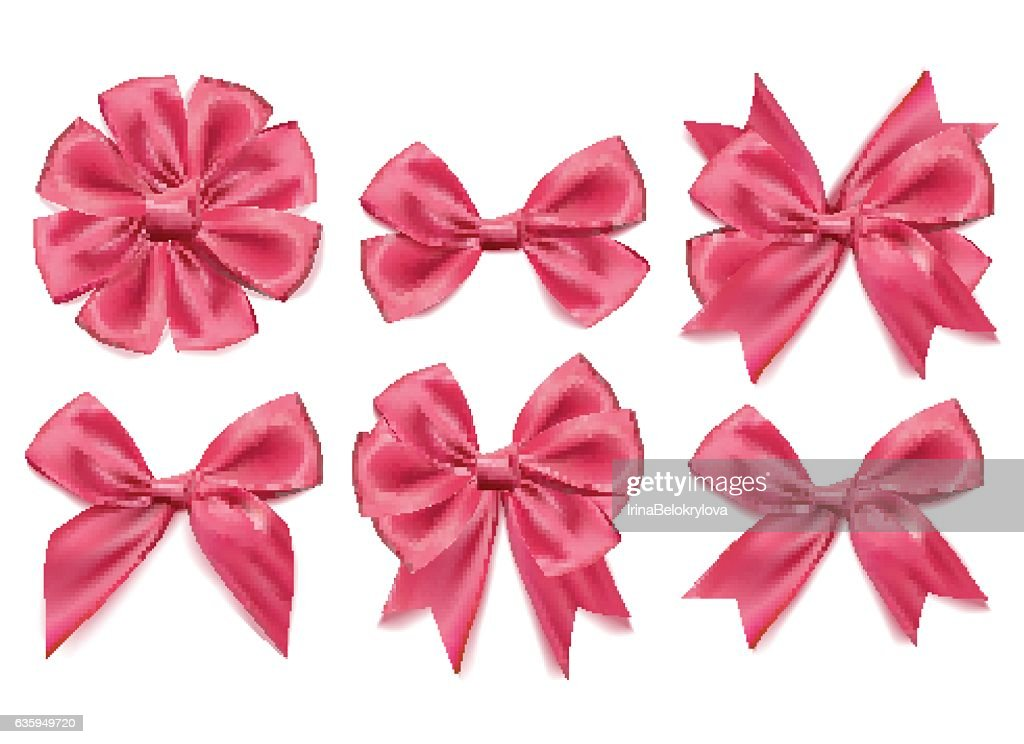 Vector 3d realistic ribbon shaped pink bows set. isolated background