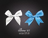 Vector 3d realistic ribbon white, blue bows. dark transparent background