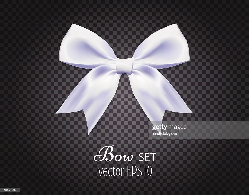 Vector 3d realistic ribbon white bow on dark transparent background