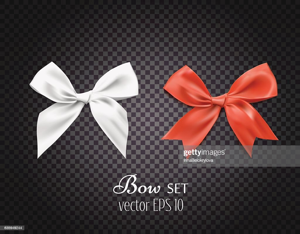 Vector 3d realistic ribbon white, red bows. dark transparent background
