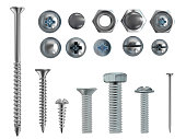 Vector 3d realistic steel bolts, nails, screws