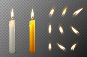 Vector 3d realistic white and orange paraffin or wax burning party candle and different flame of a candle icon set closeup isolated on transparency grid background. Design template, clipart for graphics